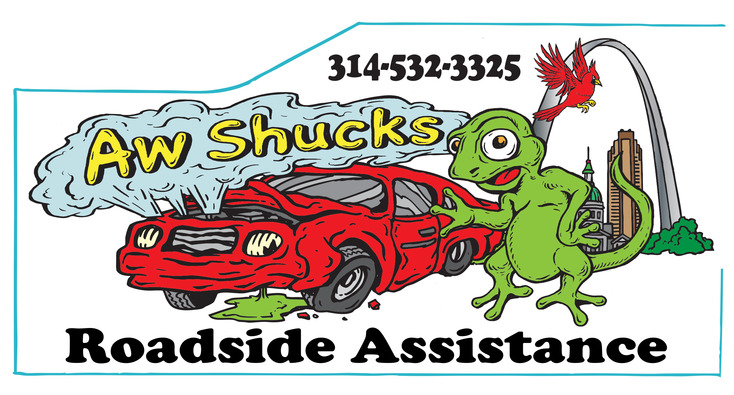 """Aw Shucks"" Roadside Assistance cartoon banner with"