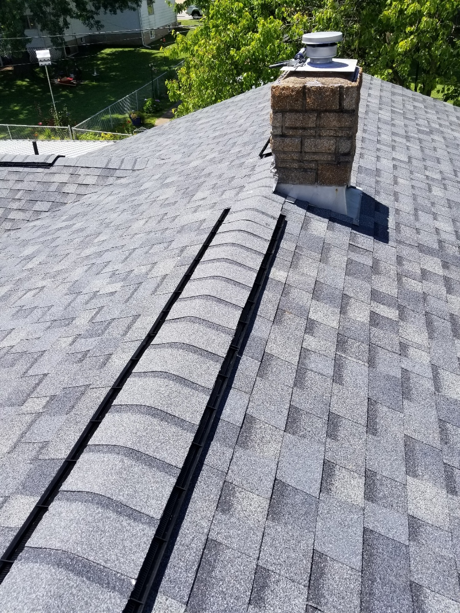 Top view of residential roof