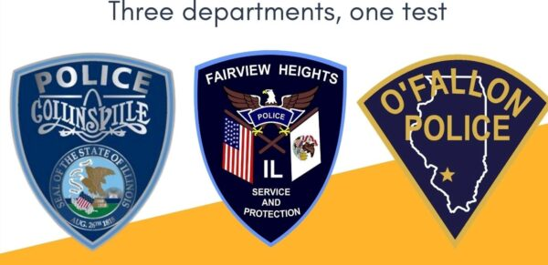 3 logos for Collinsville, Fairview Heights, and O'Fallon police
