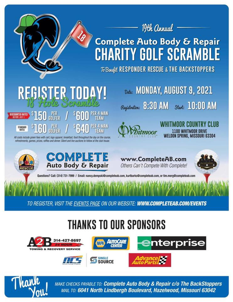 Flyer for the 19th annual complete auto body & repair Charity Golf Scramble