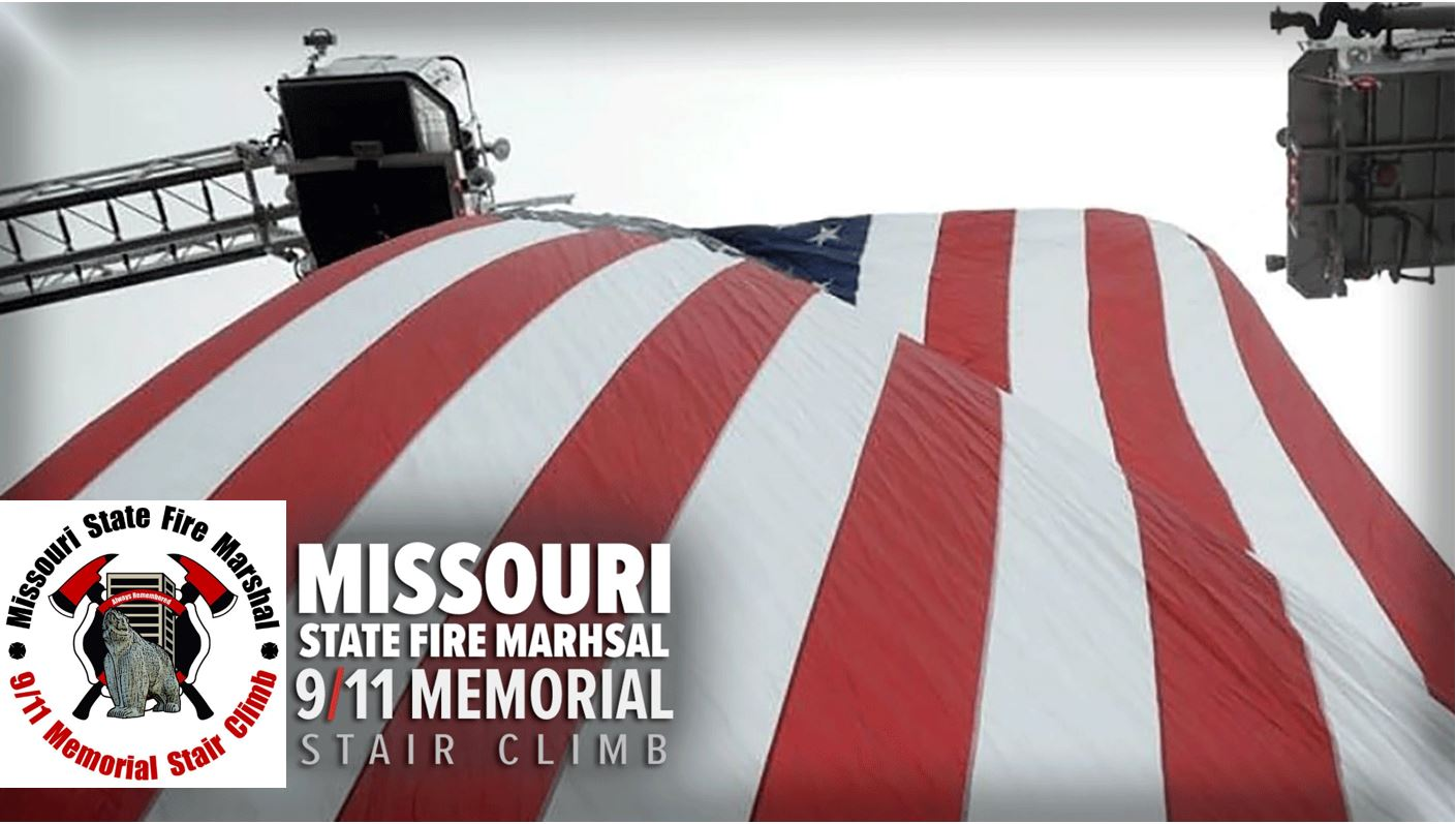 American flag back drop on a Missouri State Fire Marshall 9/11 memorial stair climb banner