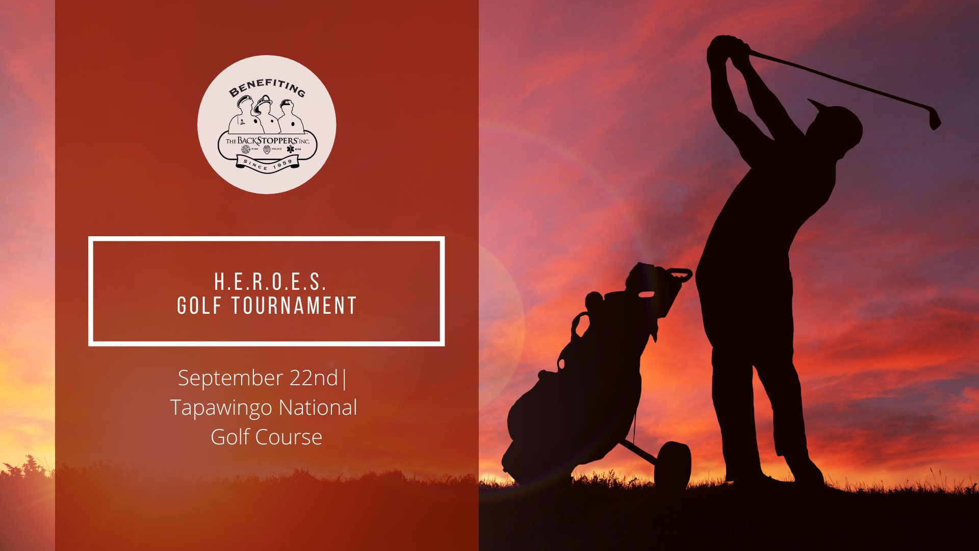 Silhouette of golfer in red sunset HEROES Golf tournament banner