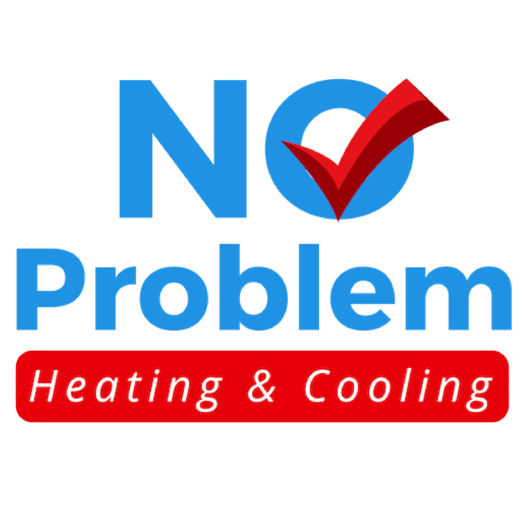 No Problem Heating & Cooling logo, blue and red